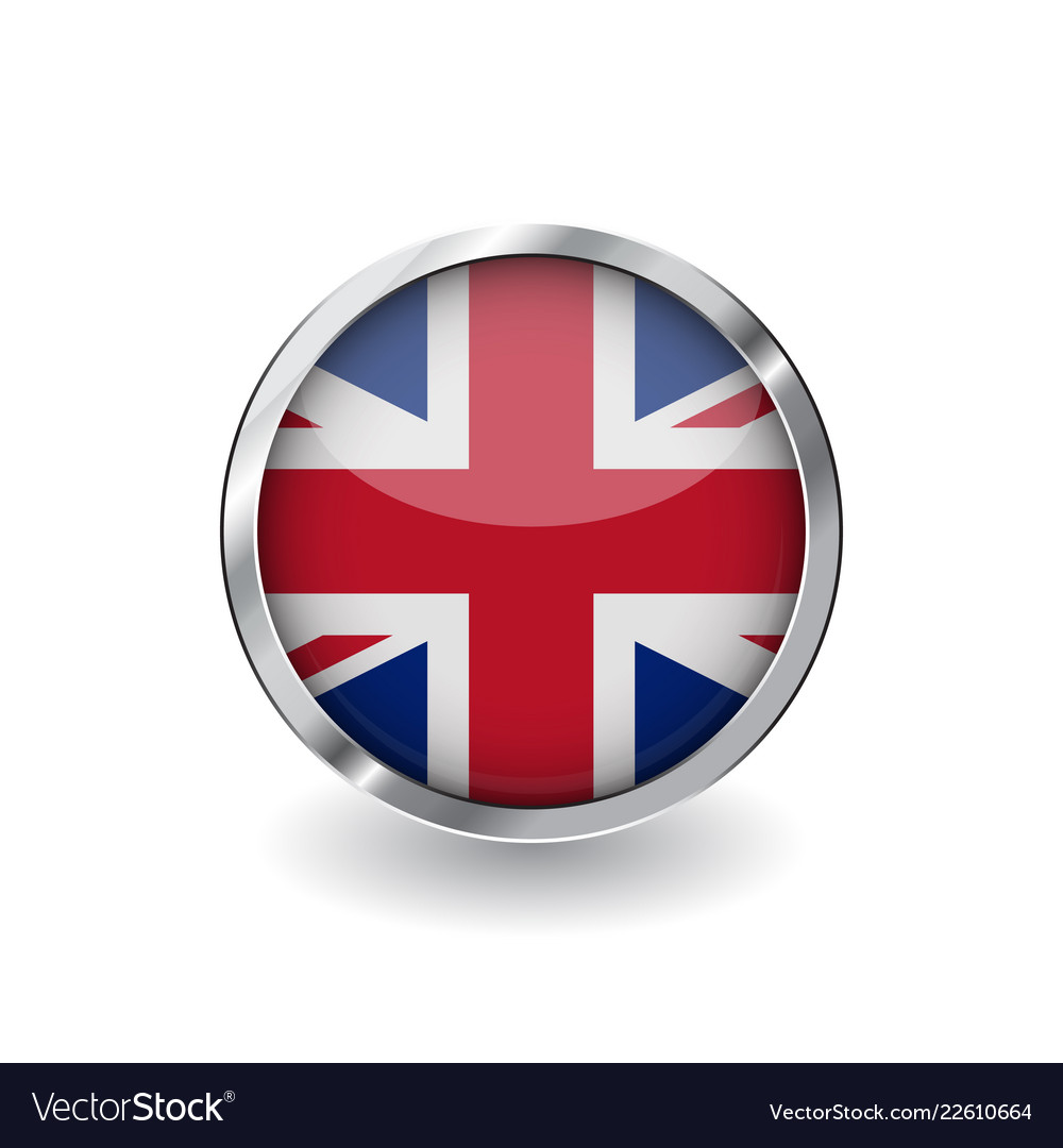 Flag of united kingdom button with metal frame