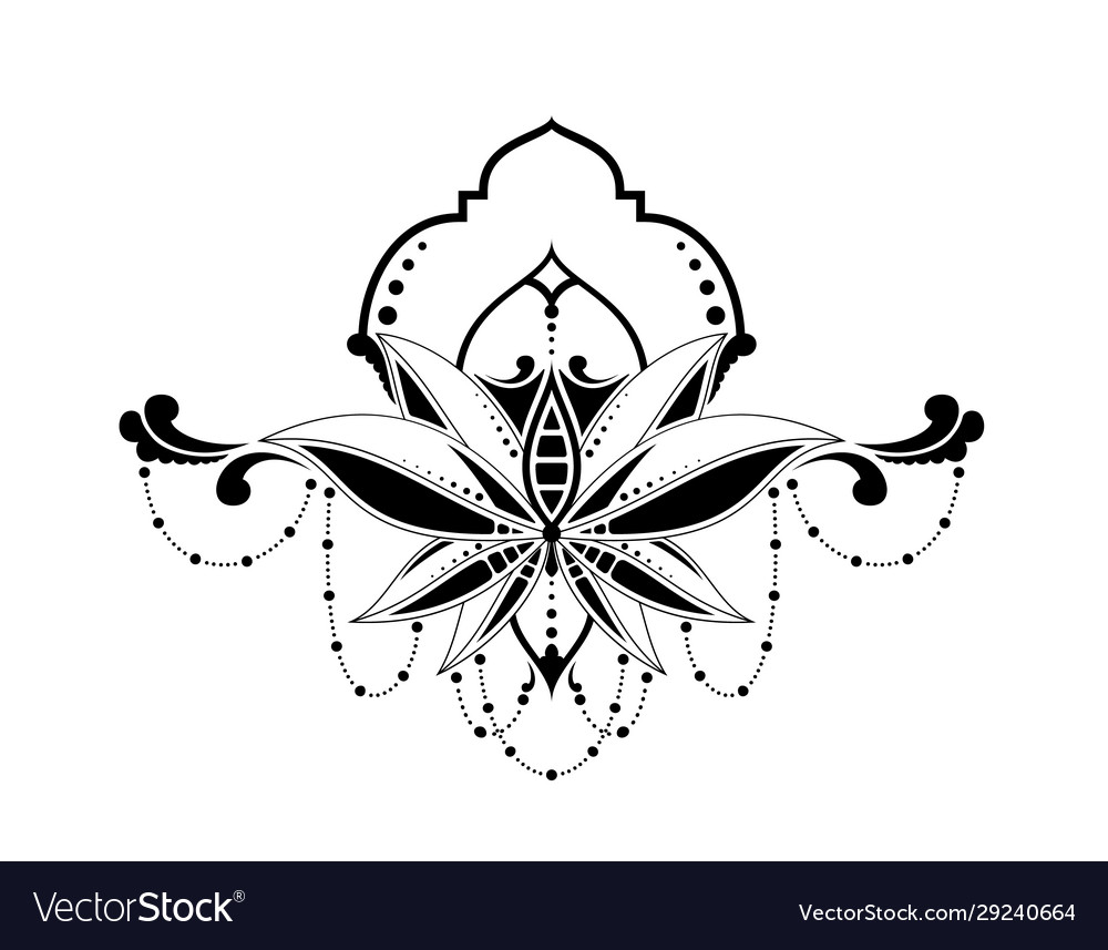 Floral ethnic elegant pattern isolated in white