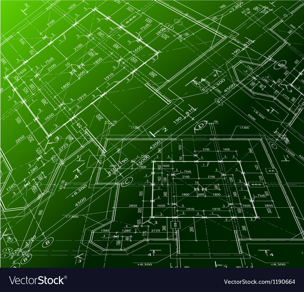 House plan on green background blueprint vector image malvernweather Images