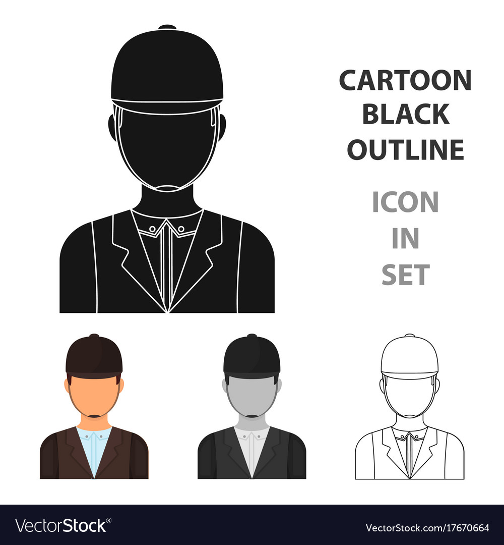 Jockey Icon In Cartoon Style Isolated On White Vector Image