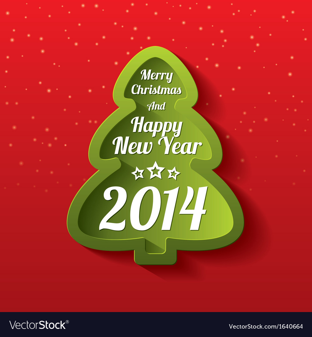 Merry Christmas green tree greeting card 2014