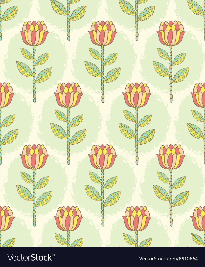 Ornate seamless pattern with the stylized flowers