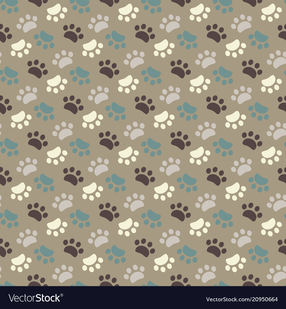 Paw seamless patternanimals foot imprint