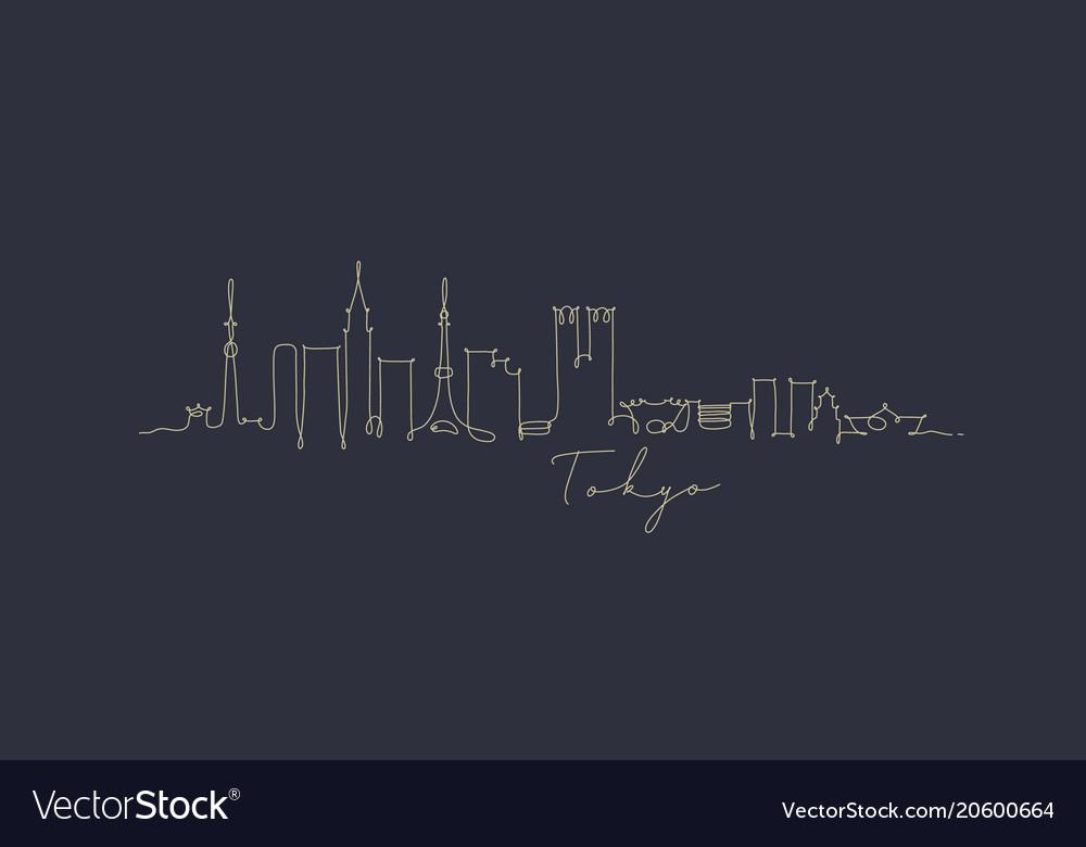 Pen line silhouette tokyo dark blue