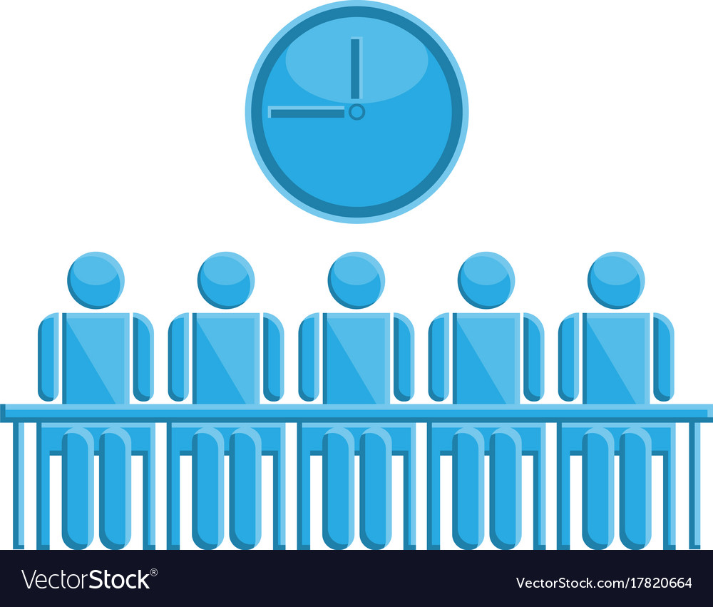 People in meeting time symbol