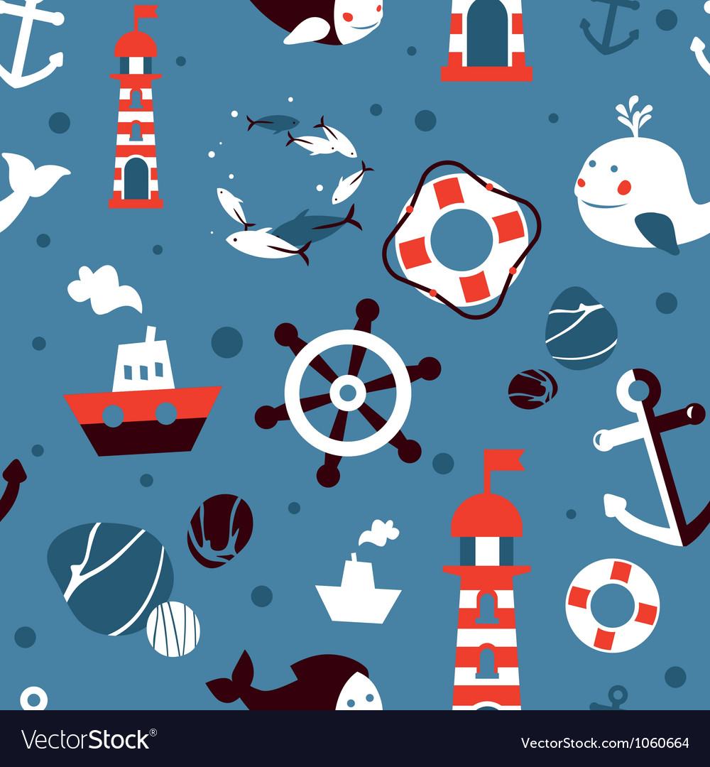 Seamless pattern with sea icons - abstract