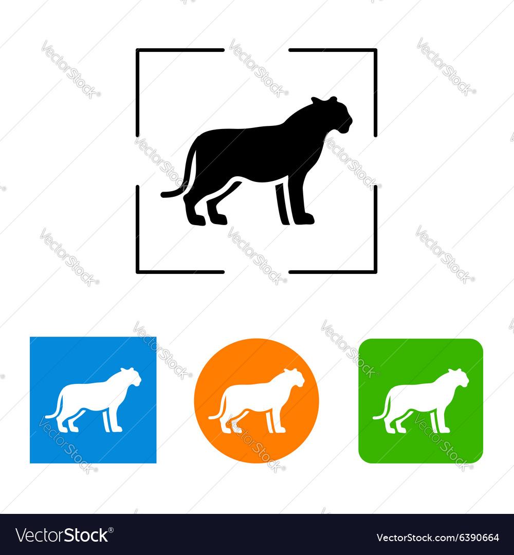 Silhouette big cat icon vector image