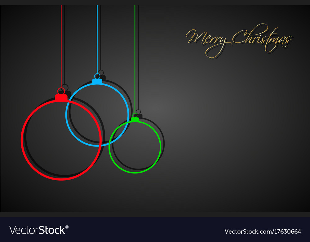 Three colorful christmas balls with strings