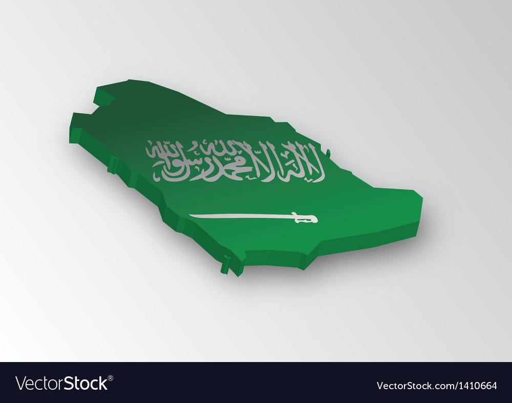 Three dimensional map of Saudi Arabia in flag colo vector image