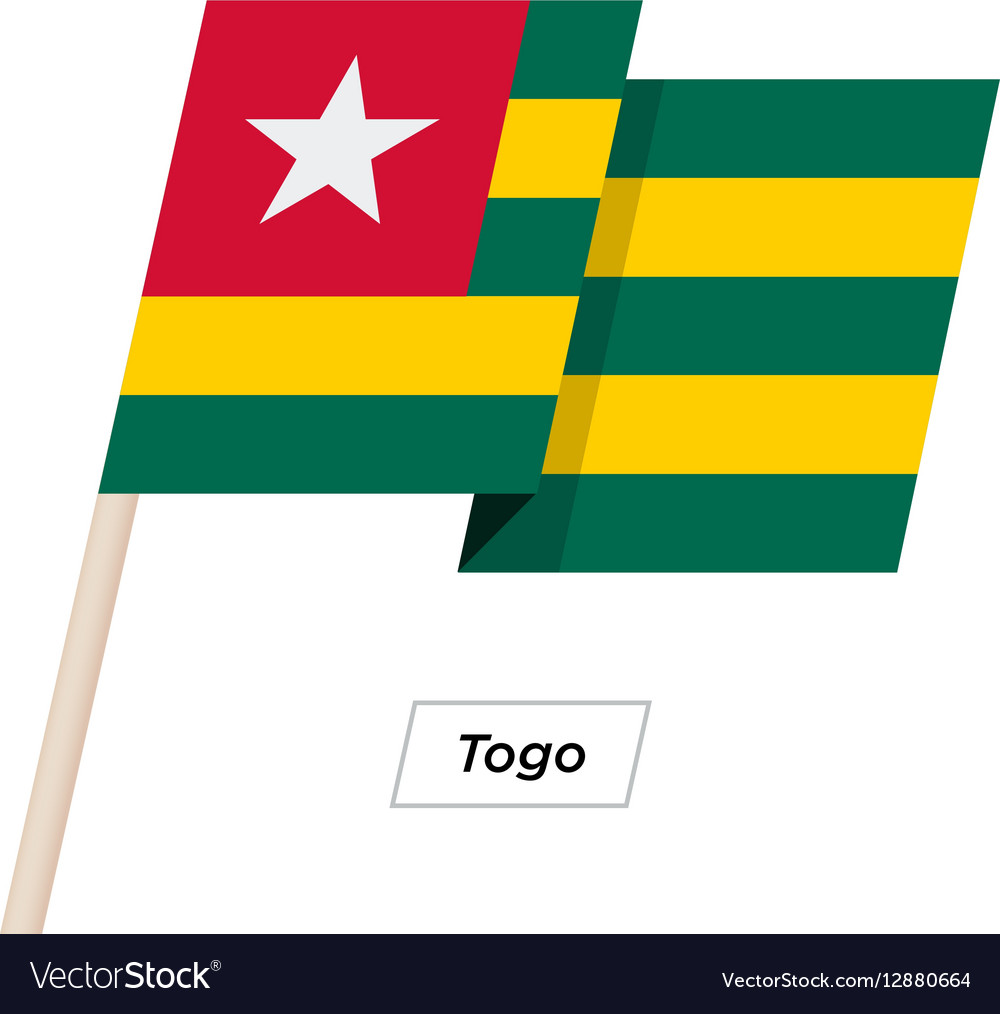 Togo Ribbon Waving Flag Isolated on White