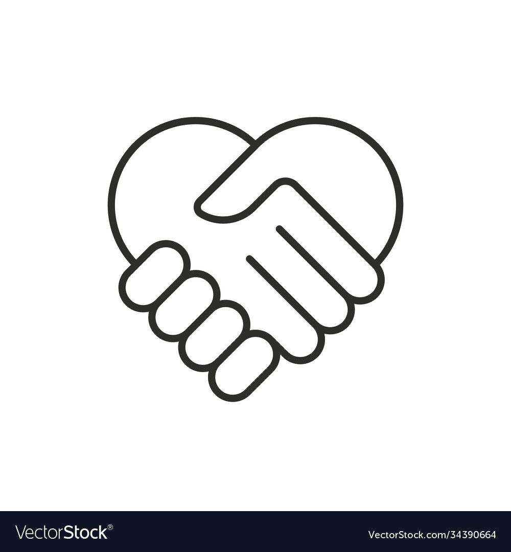 Two hands in shape heart modern thin line icon