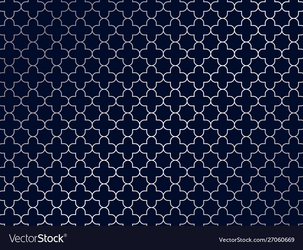 Abstract silver moroccan pattern on blue