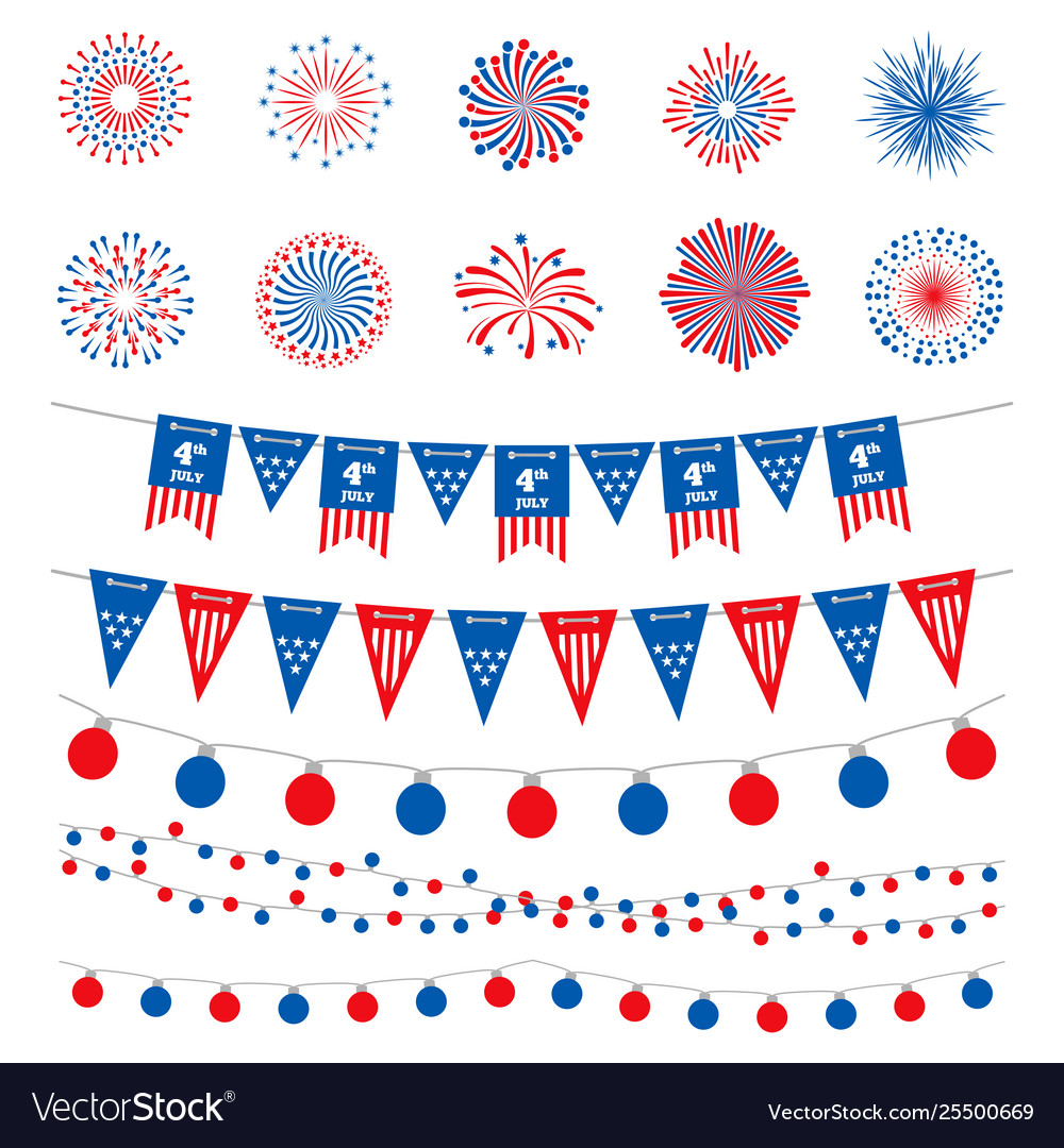 American flag color banners garlands and
