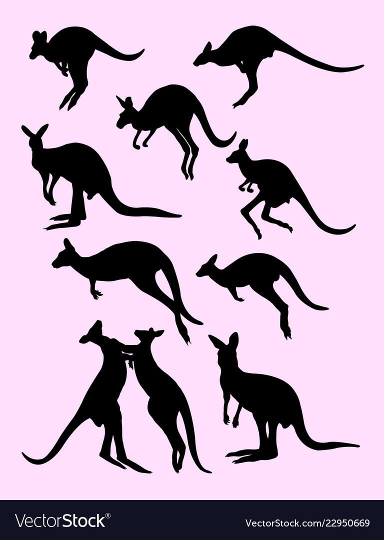 Cute black silhouette of kangaroos