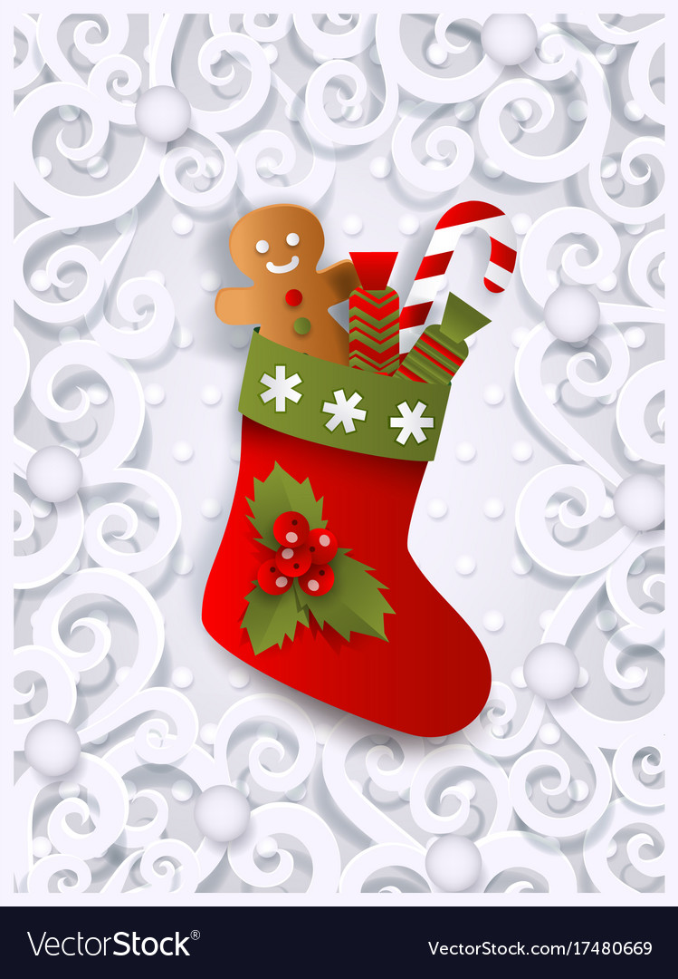 greeting card template with christmas stocking vector image
