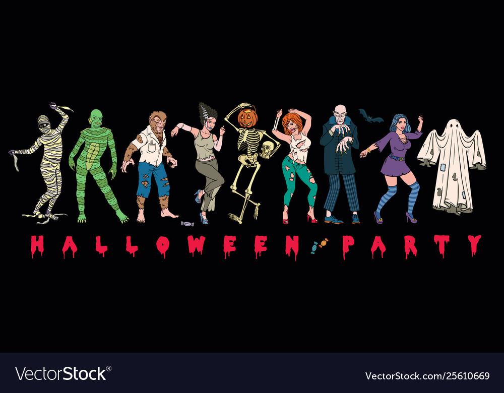 Halloween party set monsters characters
