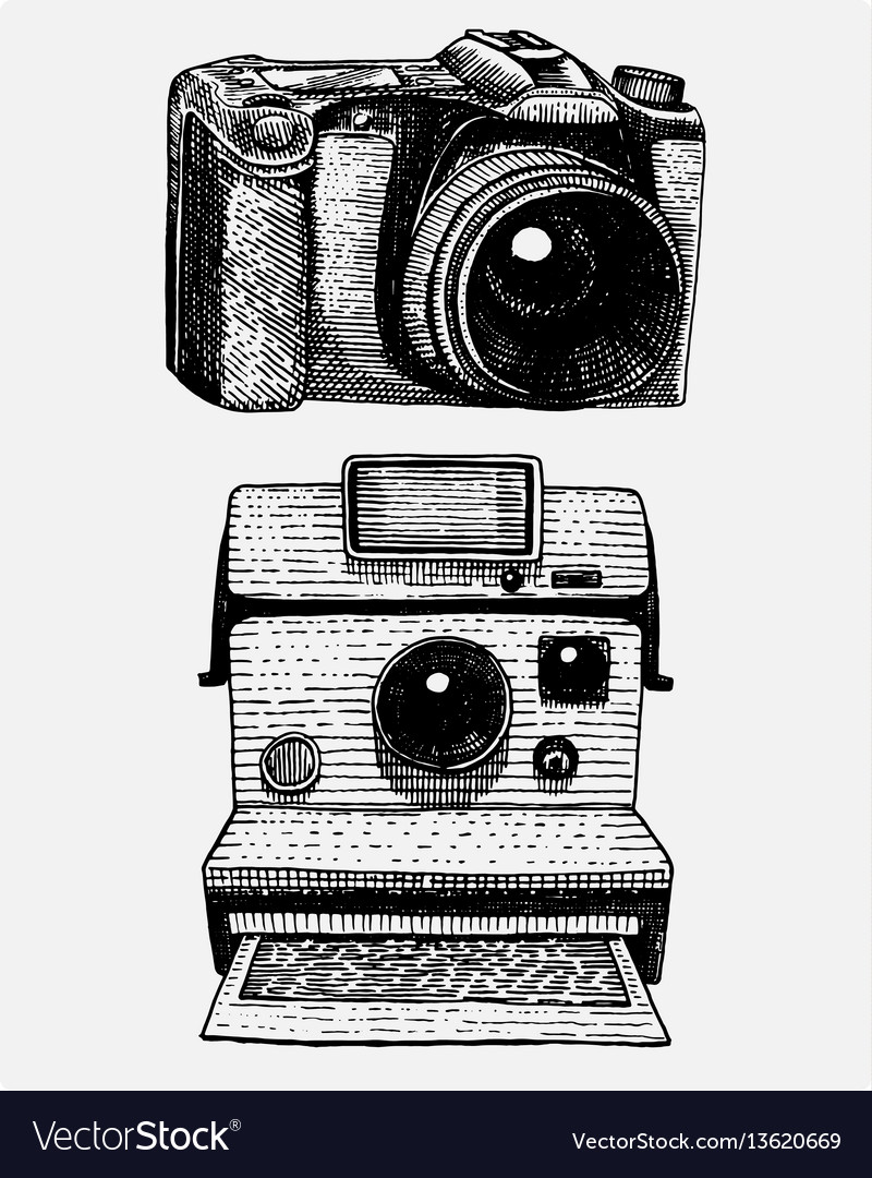 Instant and modern photo camera vintage engraved