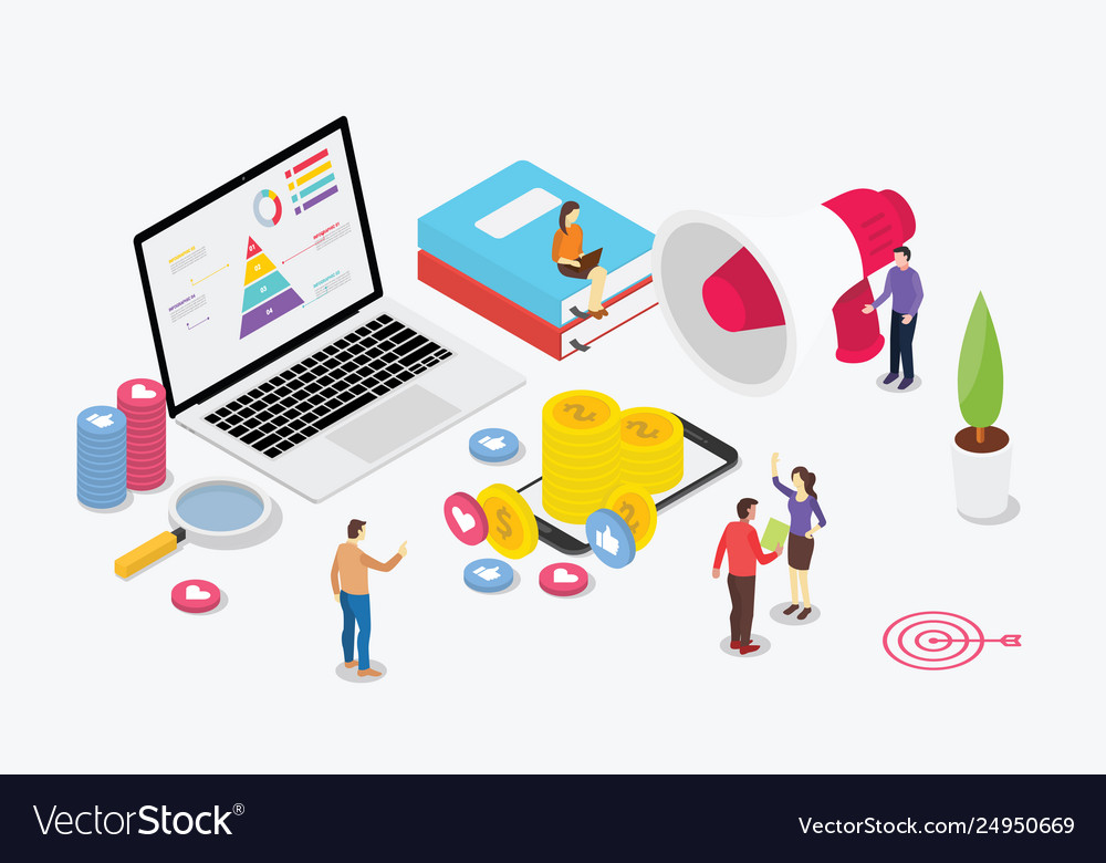 Isometric digital marketing team with business
