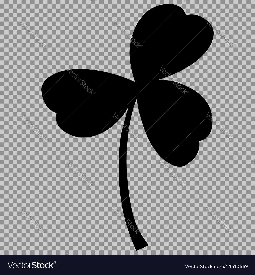 Leaf clover sign black a symbol on a transparent vector image