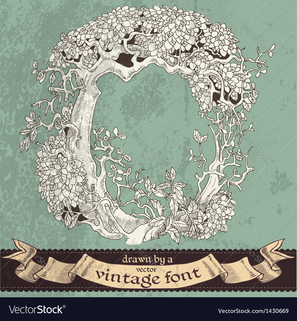 Magic grunge forest hand drawn by vintage font - O