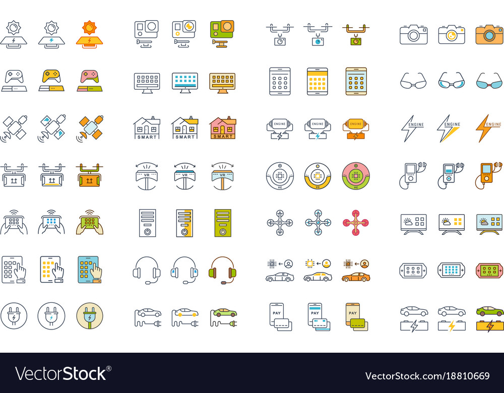 Set flat line icons technology