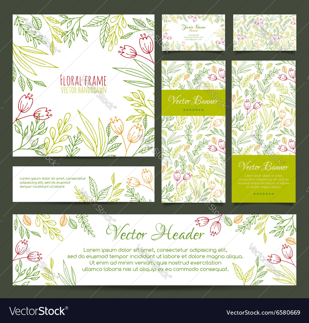Set of banners business card frame invitations vector image colourmoves