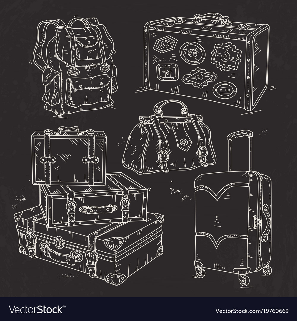 Set suitcase bag and backpack for travel drawn on