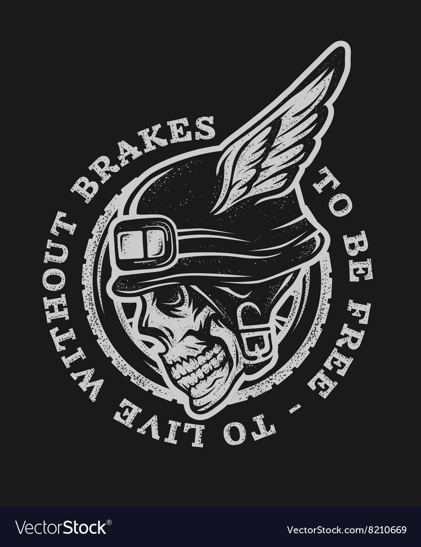 Skull biker helmet with wings