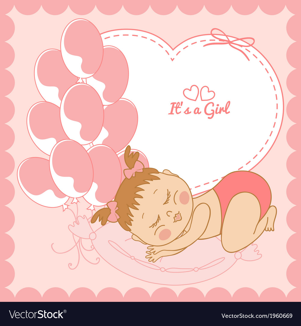 Sleeping baby girl in pink frame Royalty Free Vector Image