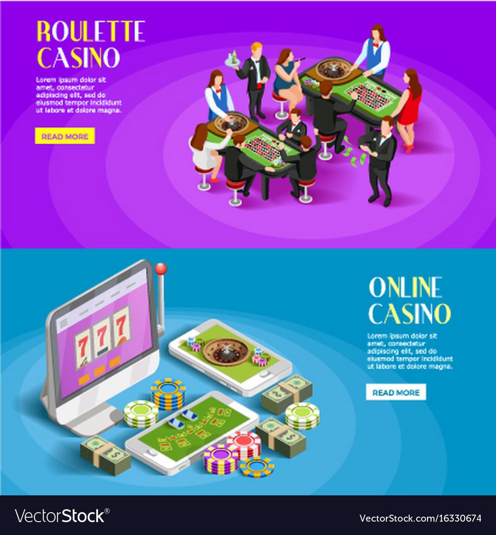 Casino isometric banners set vector image