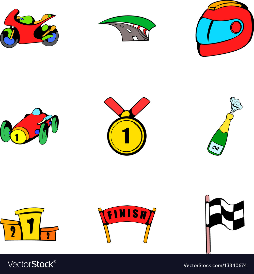 Championship icons set cartoon style
