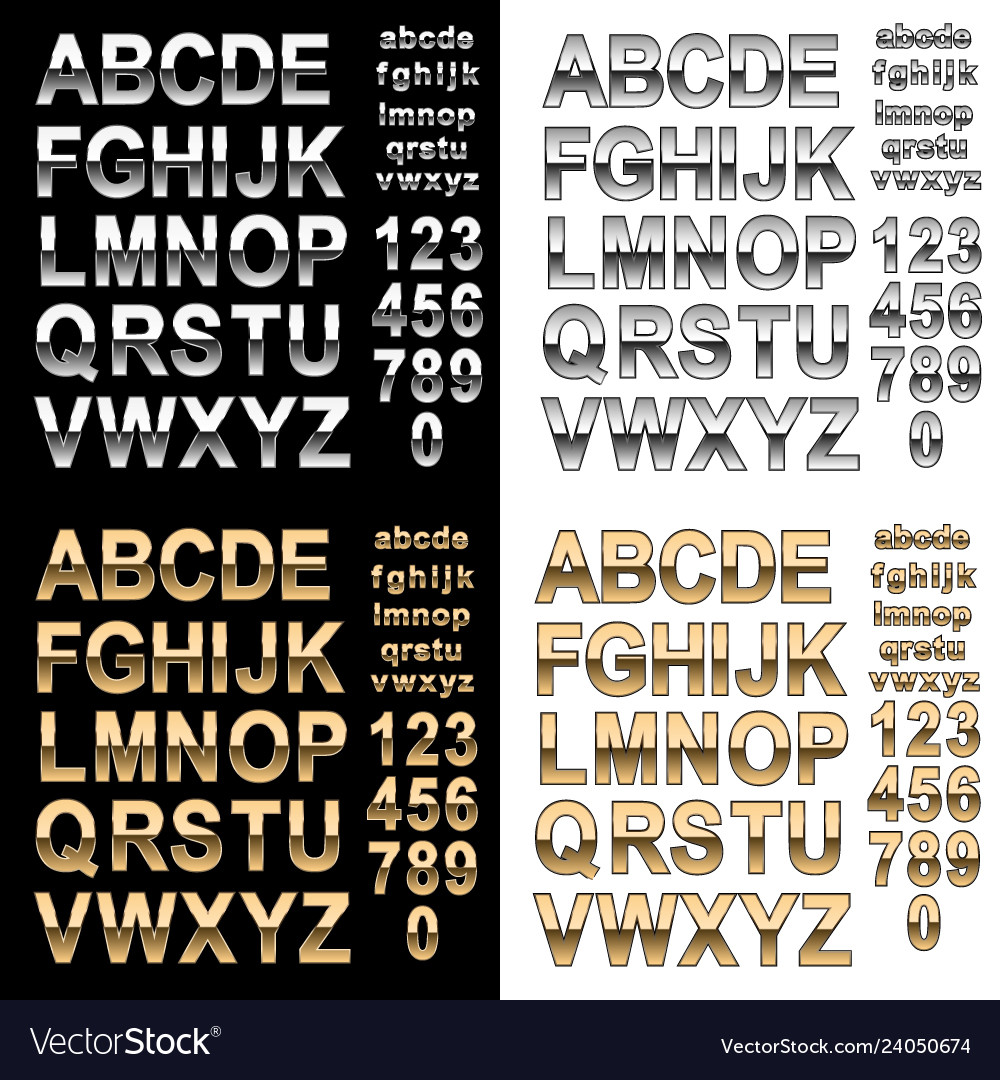 Chrome and gold effect alphabet letters numbers