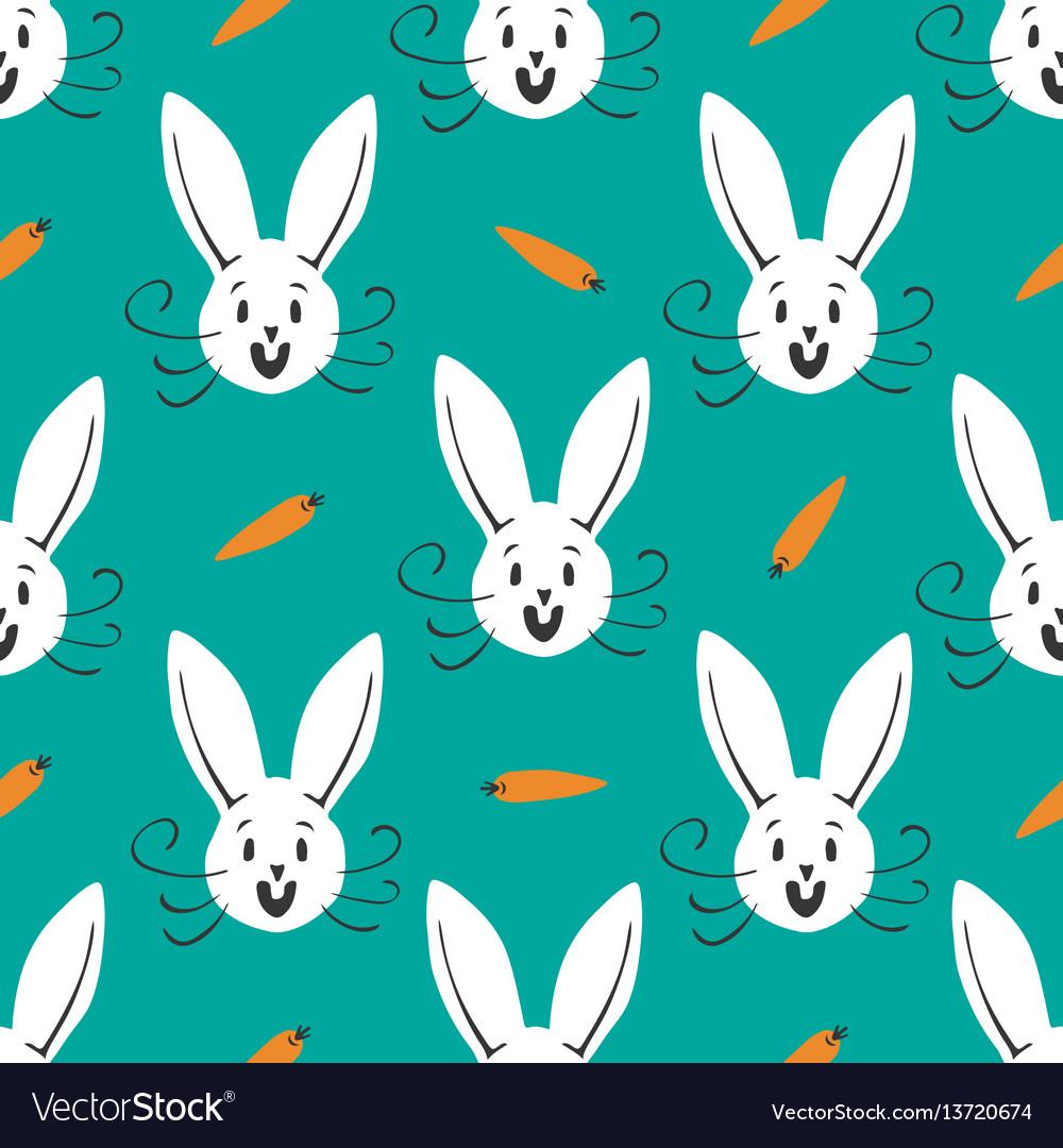 Cute bunny seamless pattern hand drawn