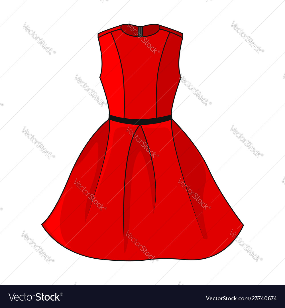 icon beautiful short red dress Vector Image