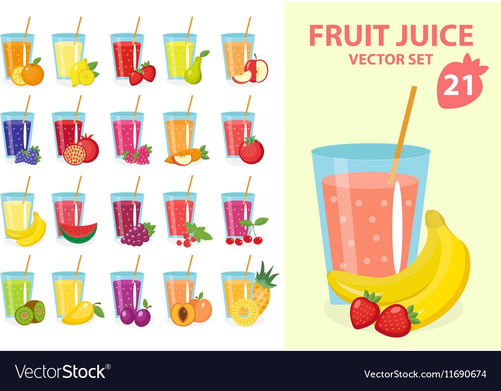 Fruit juice in glass set