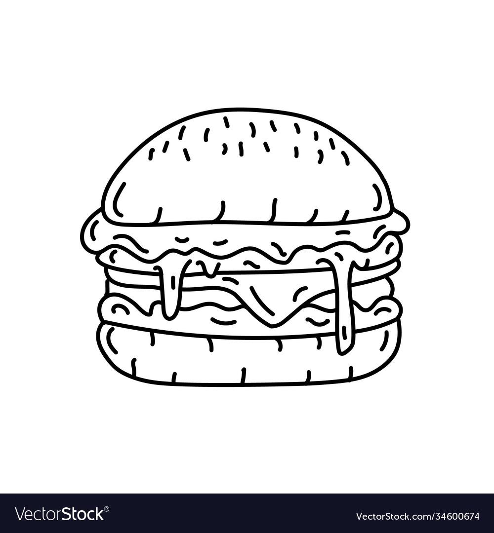 Hamburger icon doodle hand drawn or black