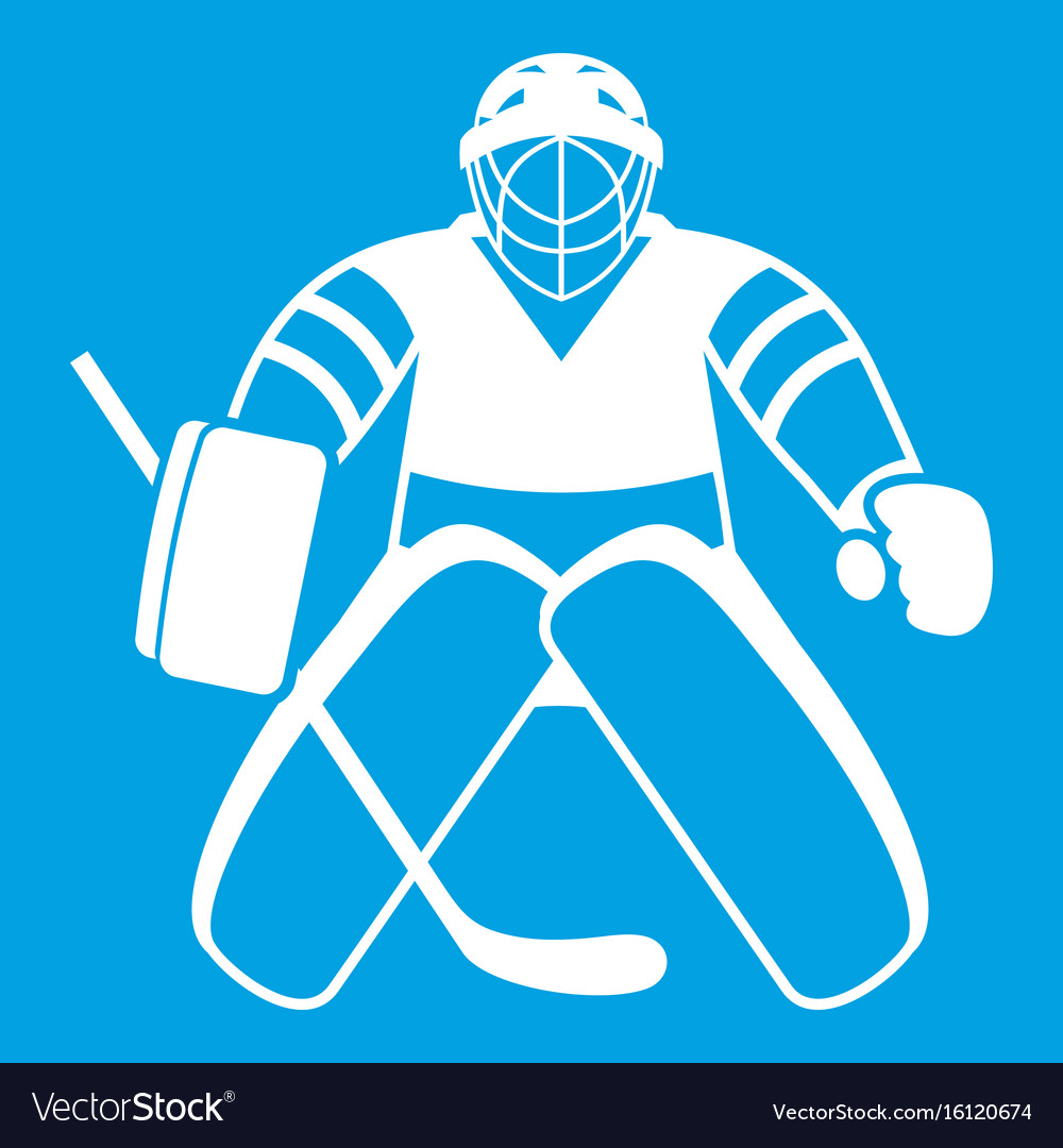 Hockey Goalkeeper Icon White Royalty Free Vector Image