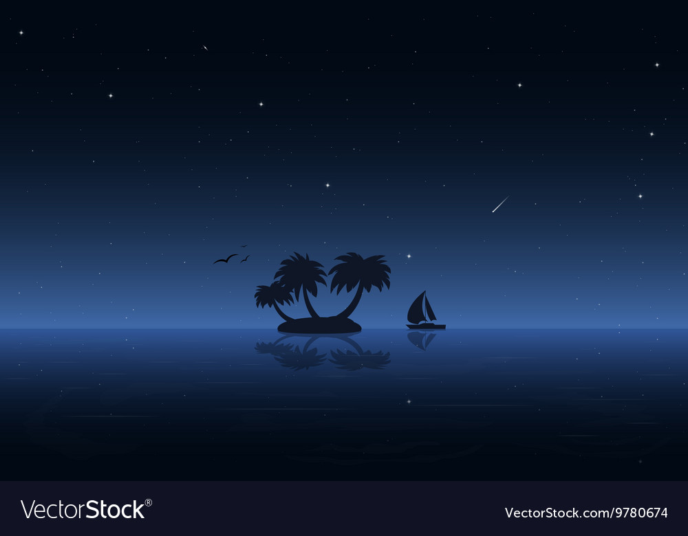 Night water and boat