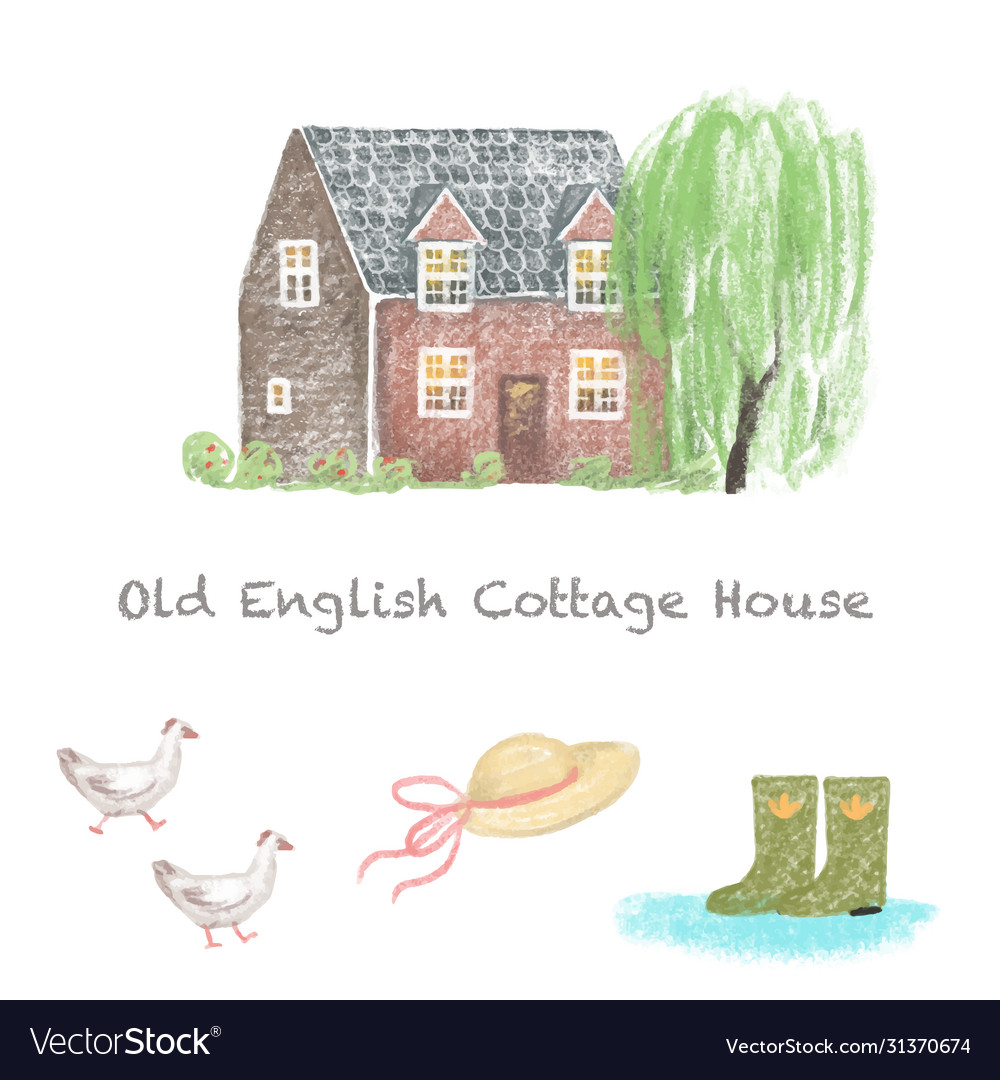 Old english cottage house countryside home hand