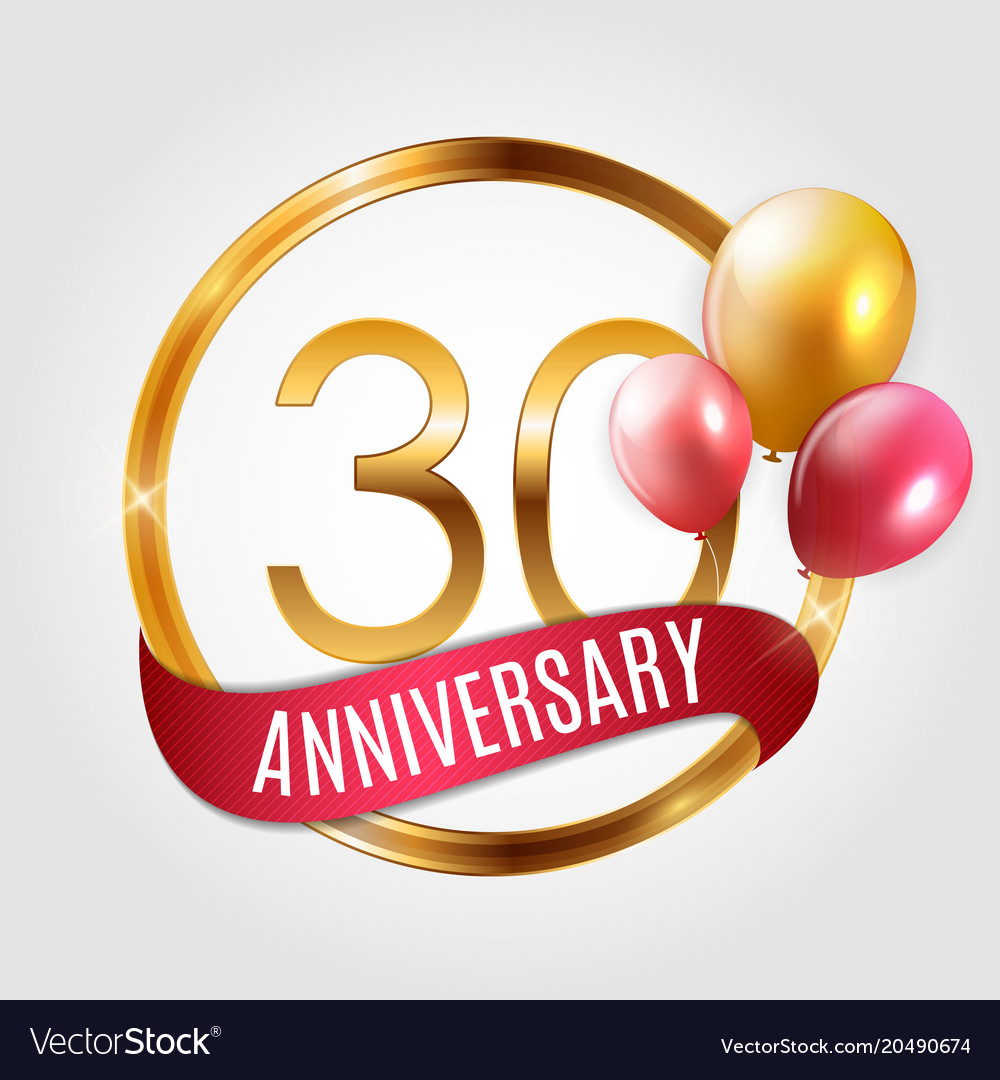 template gold logo 30 years anniversary with vector image