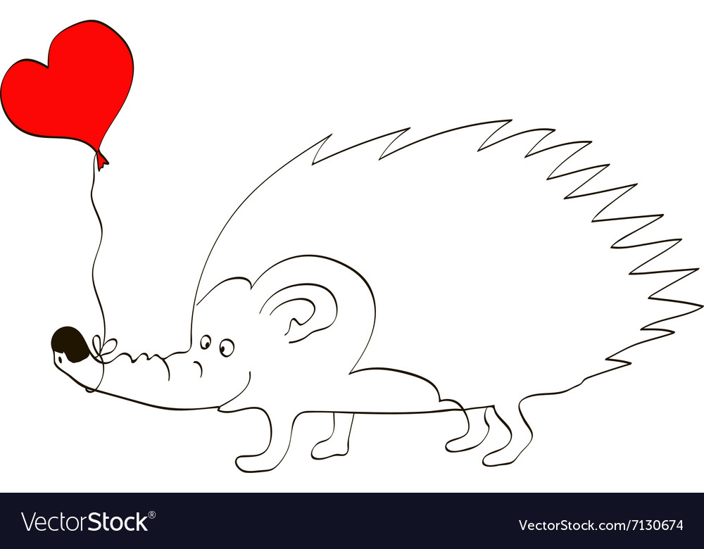 Valentine card with hedgehog with heart frame