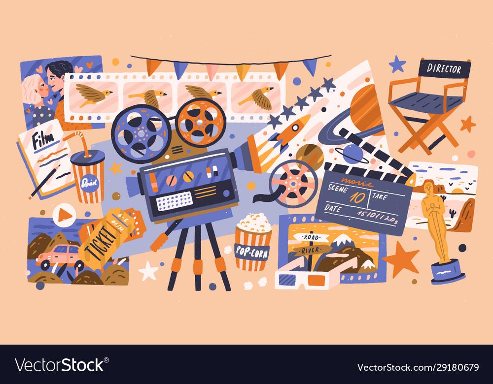 Cartoon cinema design concept with different