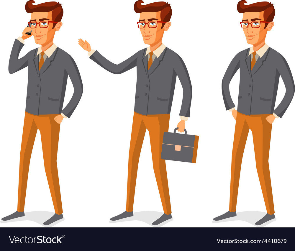 Cartoon handsome young man with beard vector image