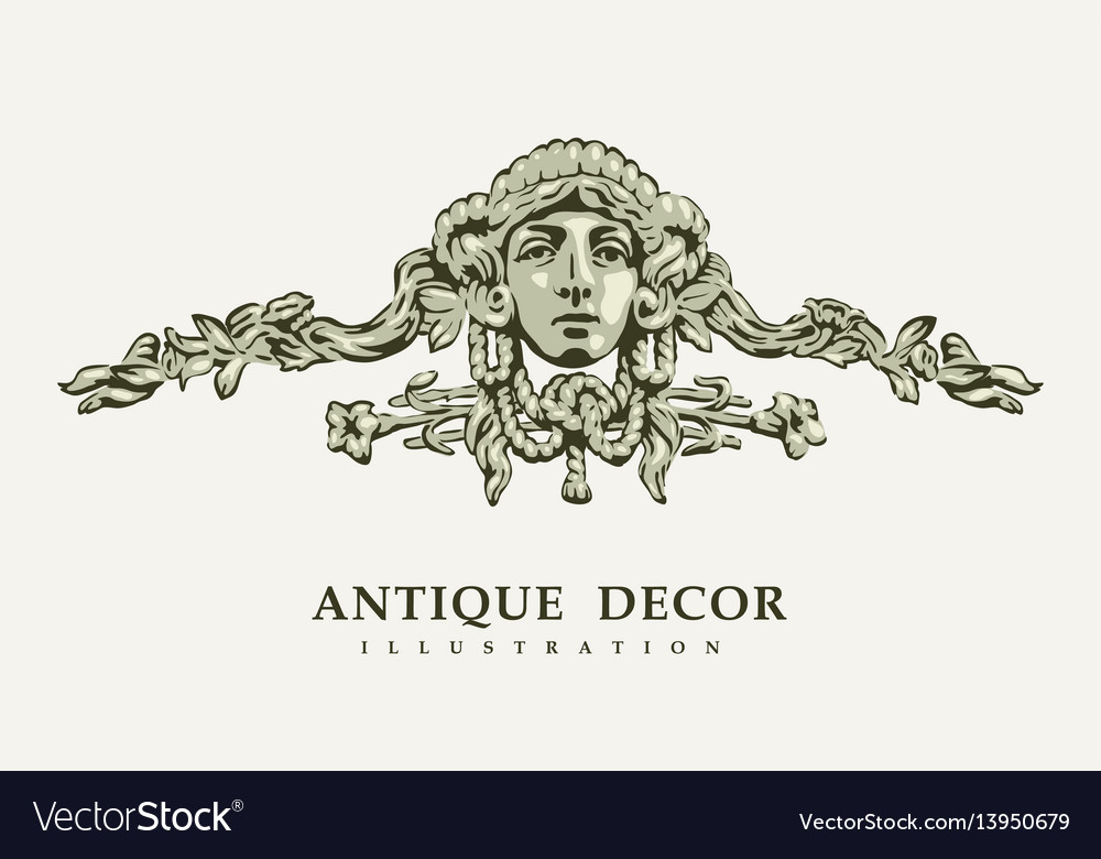 Classical antique decor with female portrait vector image