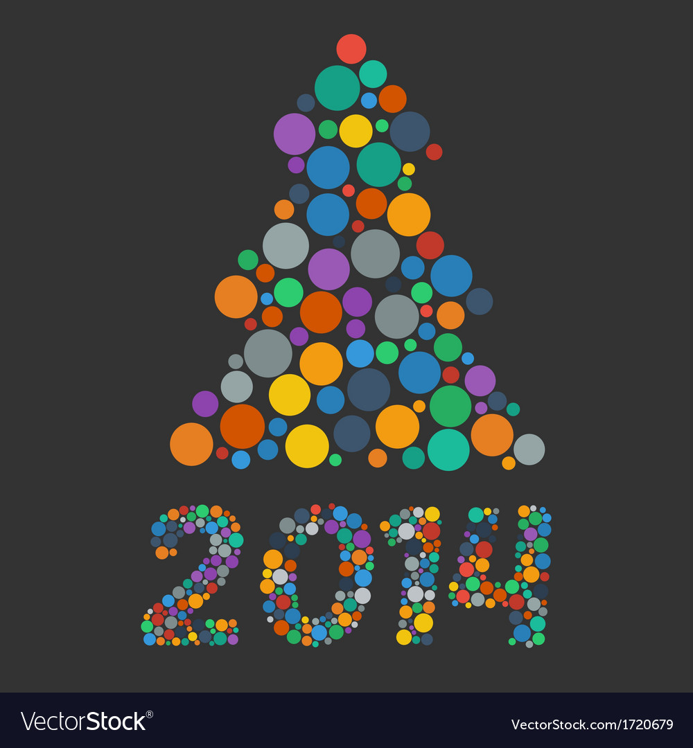 Color flat confetti christmas tree vector image