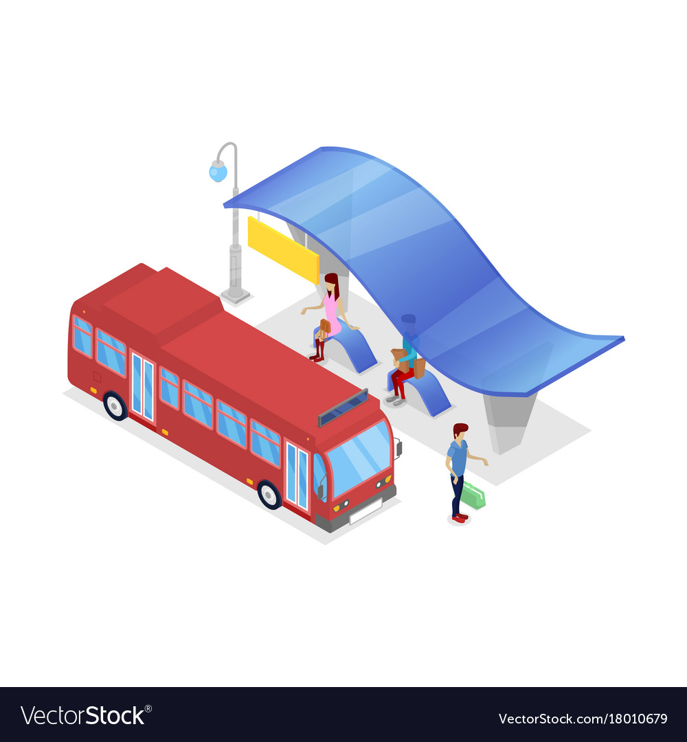 Downtown bus stop isometric 3d icon