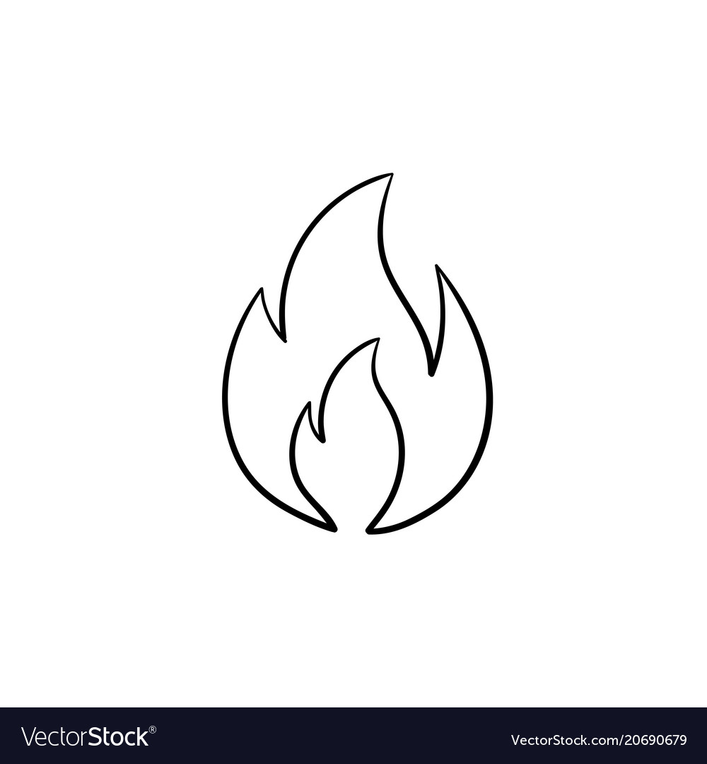 fire flame hand drawn sketch icon royalty free vector image