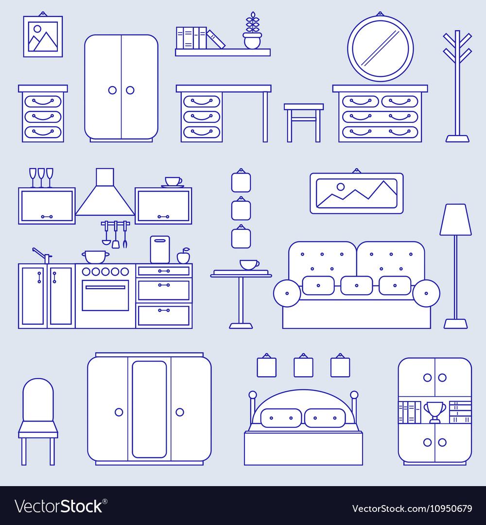 Furniture line icon design