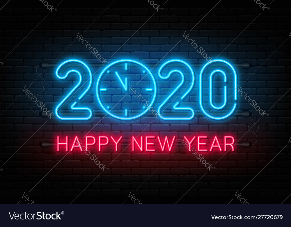 Happy new year 2020 neon sign glowing text 2020