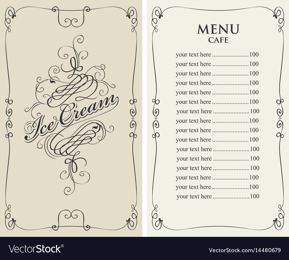 Ice cream menu for cafe with price list
